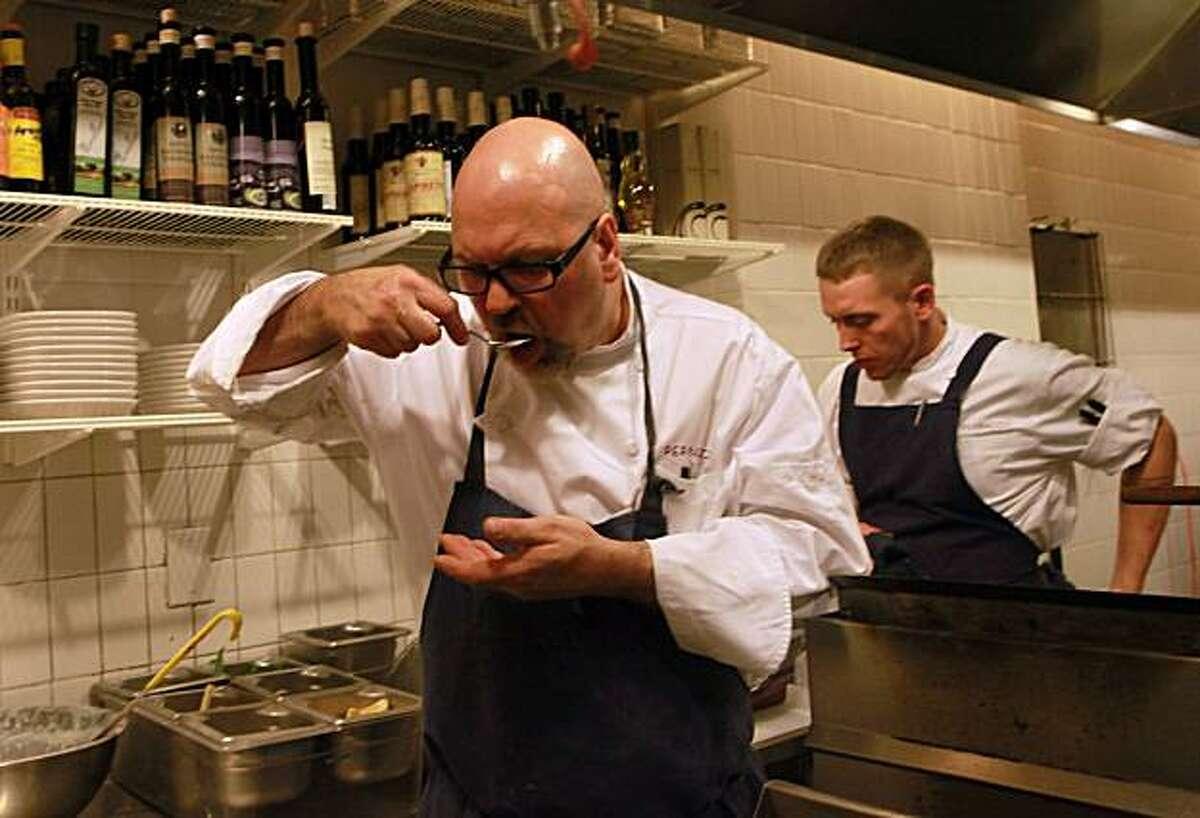 Head chef Staffan Terje tasting tripe in his kitchen at Perbacco in San Francisco, Calif., on Thursday, September 30, 2010.