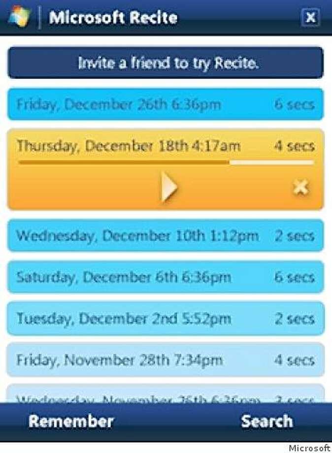 screen grab image of new app -- recite Photo: Microsoft