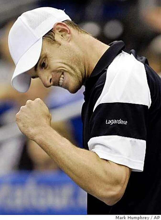 Andy Roddick celebrates after winning a point against Radek Stepanek in the championship match at the Regions Morgan Keegan Championships tennis tournament in Memphis, Tenn., Sunday, Feb. 22, 2009. Roddick defeated Stepanek 7-5, 7-5. Photo: Mark Humphrey, AP