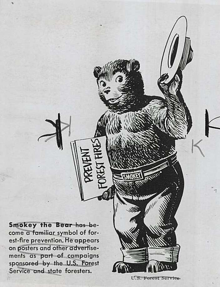 Smokey the Bear has become a familiar symbol of forest-fire prevention. He appears on posters and other advertisements as part of campaigns sponsored by the U.S. Forest Service and state foresters.  Photo taken July 11, 1974. Photo: U.S. Forest Service, SF Chronicle