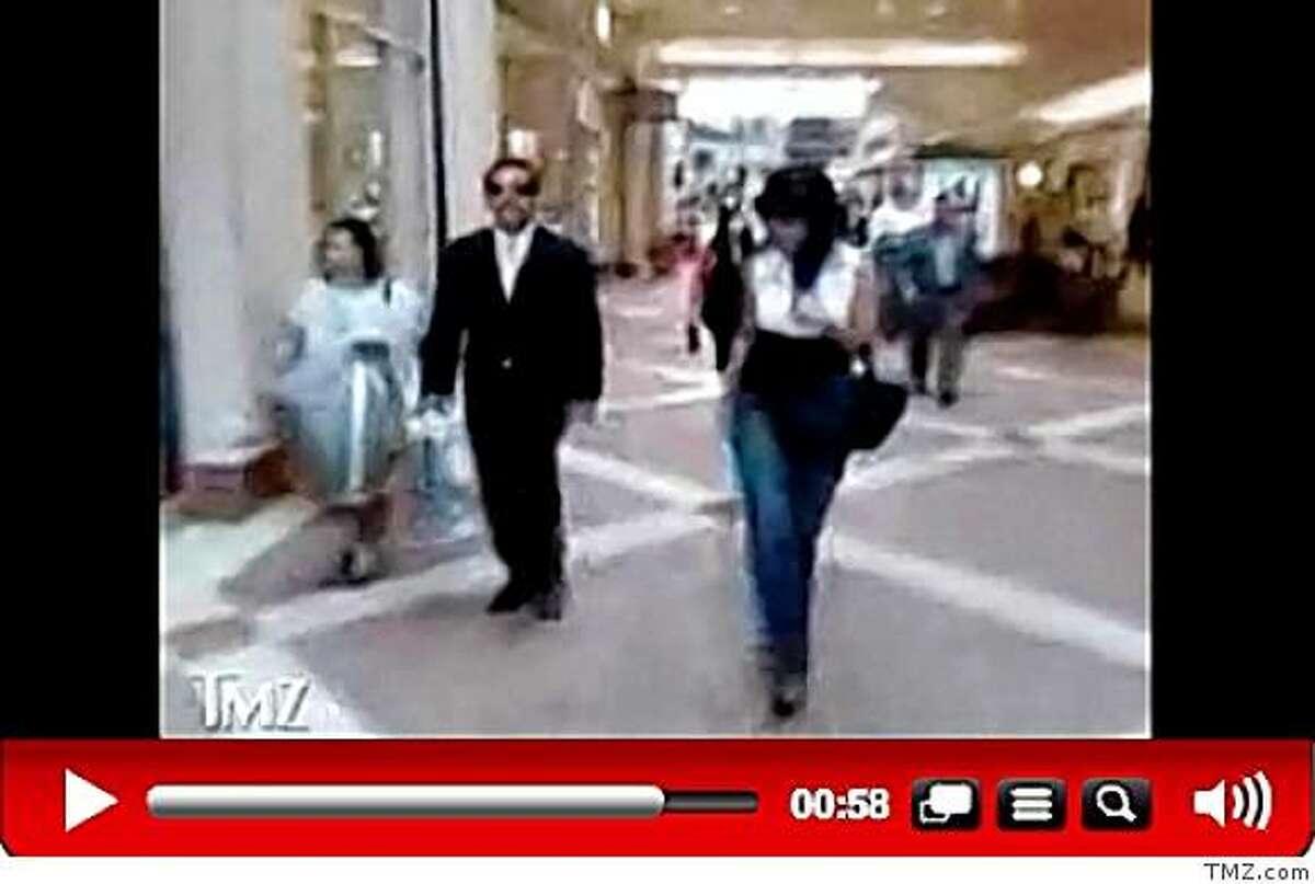 This screen capture from TMZ.com shows Los Angeles Mayor Antonio Villaraigosa strolling through a San Fernando shopping mall with then-mistress, Mirthala Salinas.