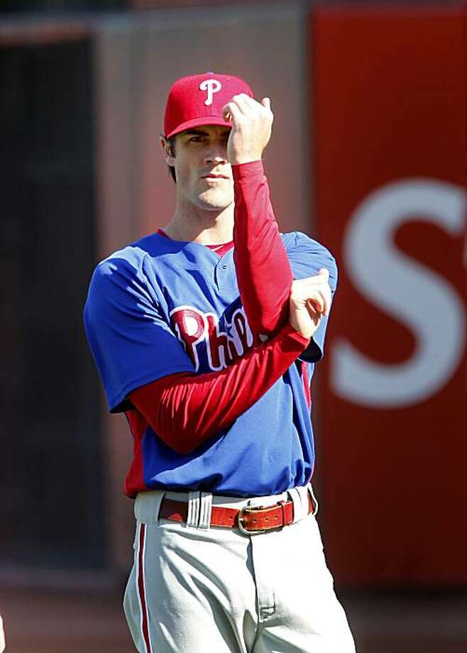 Cole Hamels works out with Phillies pitchers Monday at AT&T Park. Photo: Brant Ward, The Chronicle