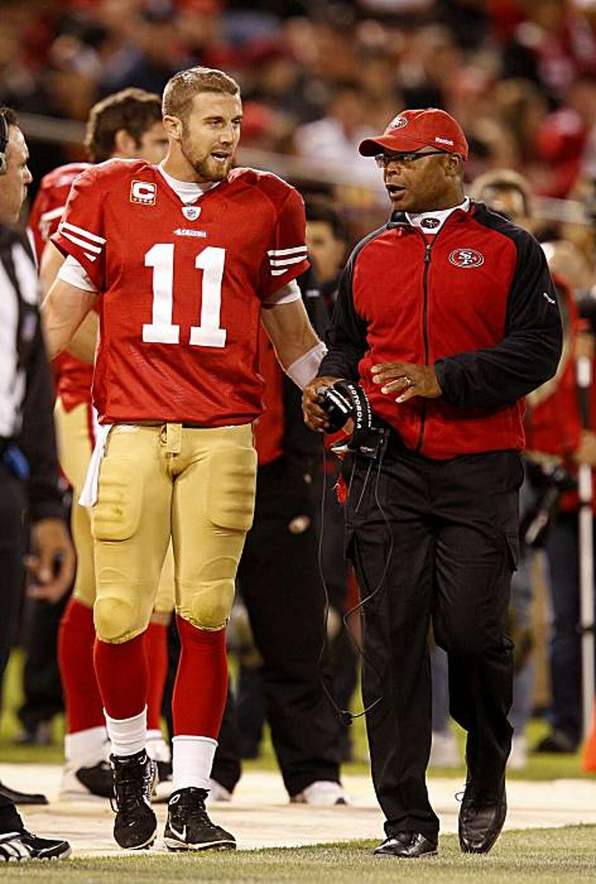 San Francisco 49ers quarterback Alex Smith and head coach Mike Singletary had a discussion on the sidelines, during the Philadelphia Eagles game, after Smith's fumble led to an Eagle score.