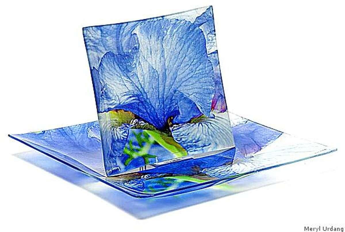 Nlue iris silk fused plate by Meryl Urdang