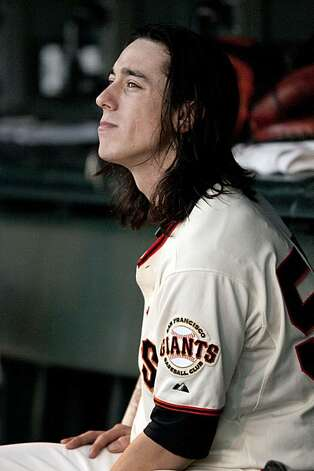 Tim Lincecum rests in the dugout in between innings as the San Francisco Giants take on the Colorado Rockies at AT&T Park in San Francisco, Calif., on Saturday, September 1, 2010. Photo: Chad Ziemendorf, The Chronicle