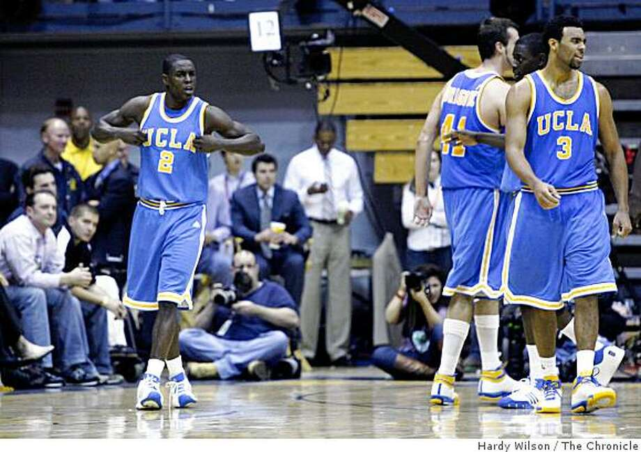 UCLA Bruins guard Darren Collison (2), left, reacts after scoring against the Cal Bears on Saturday, February 28, 2009, at Haas Pavilion in Berkeley, Calif. Collison had a game high 22 points and UCLA beat Cal 72-68. Photo: Hardy Wilson, The Chronicle