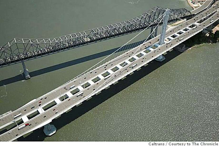 A screen grab from a Caltrans video shows the completed new single tower suspension span of the Bay Bridge. Photo: Caltrans, Courtesy To The Chronicle