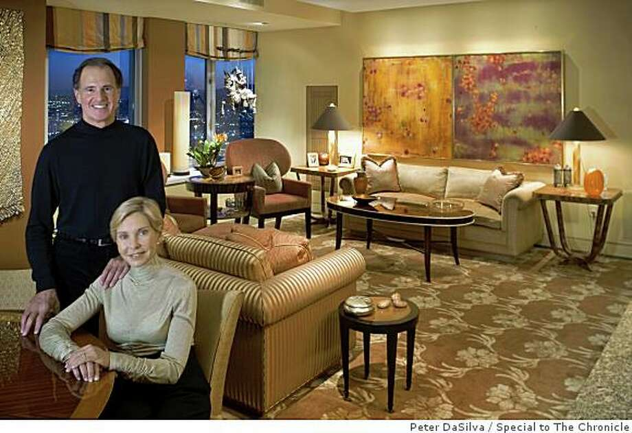 Marilyn Rosenwein and Howard Cohen, in the dining/living room of their St. Regis Hotel's residence apartment in San Francisco, California, Jan. 15, 2009. Jonathan Straley was the interior designer. Photo: Peter DaSilva, Special To The Chronicle