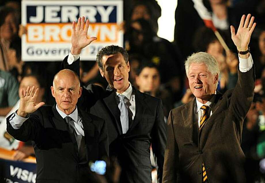 Former U.S. President Bill Clinton (R), Democratic gubernatorial candidate and California State Attorney General Jerry Brown (L) and San Francisco Mayor Gavin Newsom attend a Democratic National Committee rally on the campus of UCLA on October 15, 2010 inLos Angeles, California. Newsom is running for lieutenant governor against Republican incumbent Abel Maldonado. Photo: Gabriel Bouys, AFP/Getty Images
