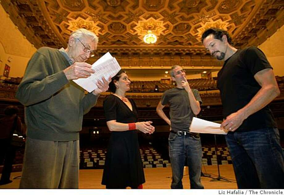 "Author Howard Zinn,  musician Evie Ladin , author Anthony Arnove, and  actor Benjamin Bratt, during rehearsal in the auditorium of Mission High School, which is the San Francisco stop of a national tour of actor's readings from Howard Zinn's 1980 ""People's History of the United States."" on Thursday , February 26, 2009. Photo: Liz Hafalia, The Chronicle"