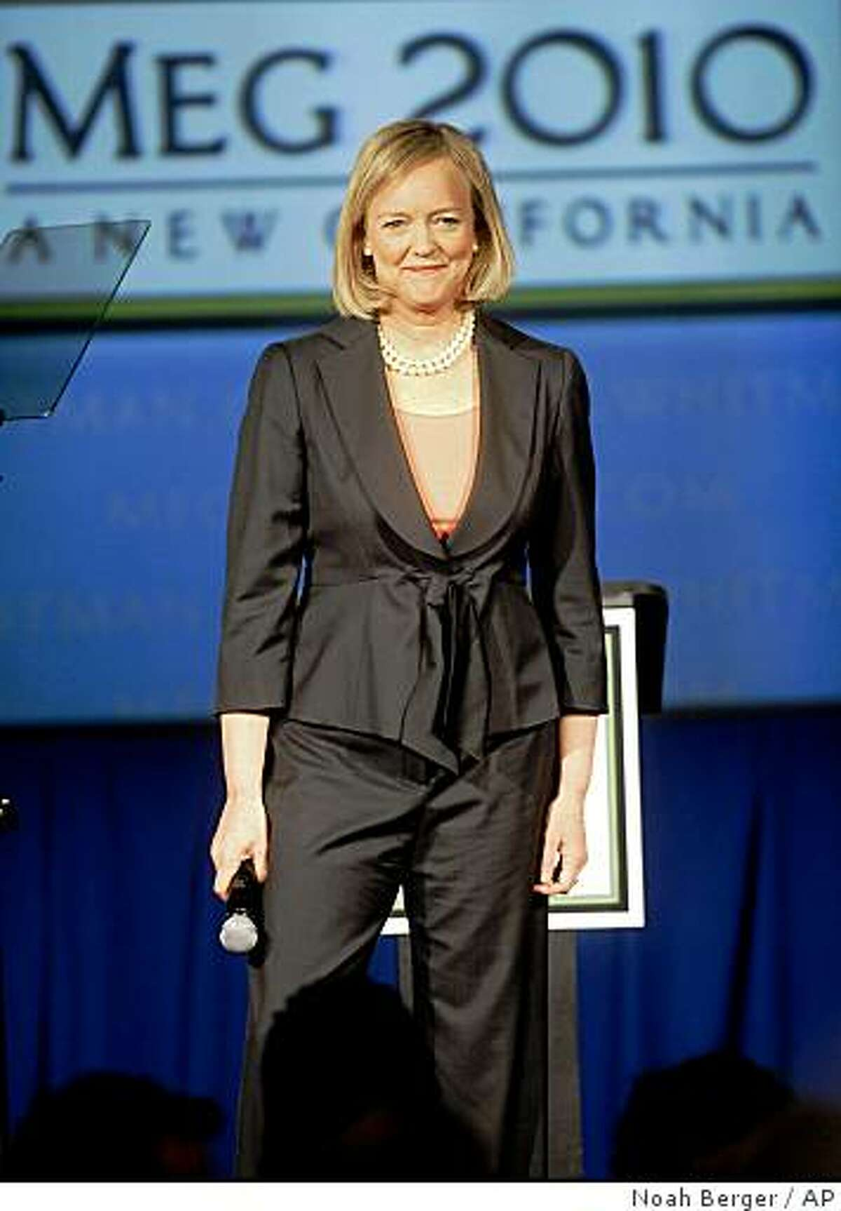 Meg Whitman, a likely candidate for California governor, speaks in San Jose, Calif., on Tuesday, Feb. 17, 2009. The former eBay chief executive stressed her goals of job creation and limited government.