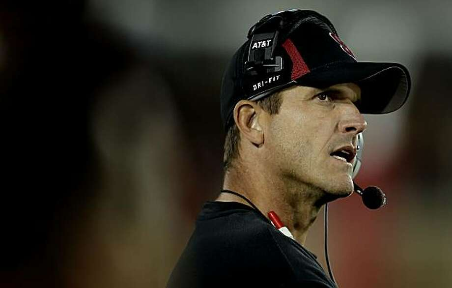 Stanford head coach Jim Harbaugh watches late in the game, as the Stanford Cardinal go on to beat Wake Forest in a final score of 68-24 in college football action at Stanford Stadium in Palo Alto, Ca. on Saturday Sept. 18, 2010. Photo: Michael Macor, The Chronicle