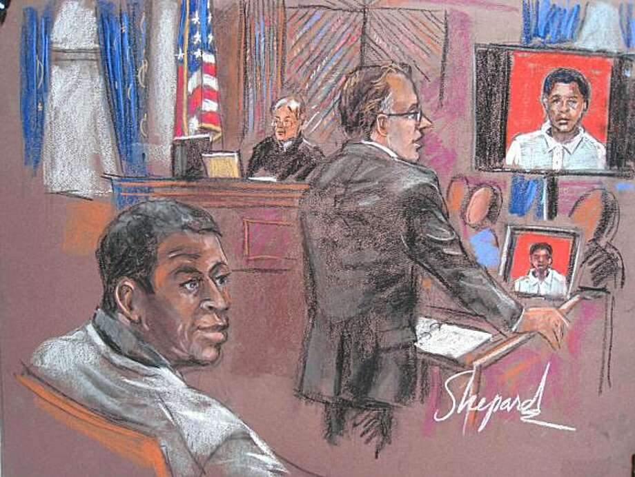This October 12, 2010 courtroom sketch shows defendant Ahmad Khalfan Ghailani (L) listening to his defense attorney Steve Zissou (C)during opening statements at his trial in New York.  Arrested in Pakistan in 2004, Ghailani is the sole inmate of the notorious Guantanamo facility in Cuba to have been transferred into the US civilian justice system. Ghailani is a Tanzanian accused of helping to bomb two US embassies in East Africa in 1998 that killed 224 people. Opening statements in the trial were delayedfor a week after Judge Lewis Kaplan (C background) excluded a witness who prosecutors say admits to selling explosives to Ghailani before the bombings. Editors please note: pictured on (R) is a mugshot of Ghailani. Photo: Shirley Shepard, AFP/Getty Images