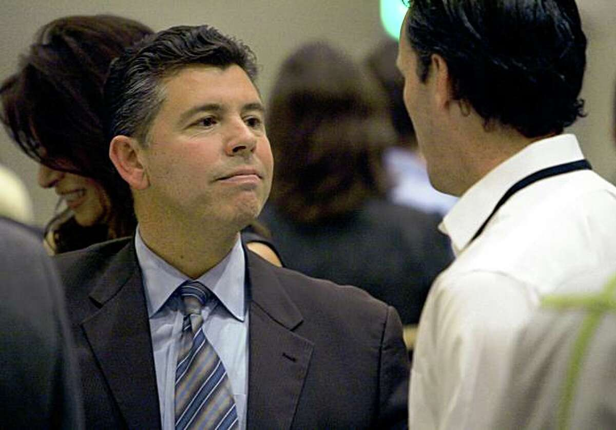 Sen. Abel Maldonado, R-Santa Maria, left, talks to a reporter at the California Republican Spring Convention in Sacramento, Calif., on Saturday, Feb. 21, 2009. Maldonado cast the swing vote that enabled the state budget to be passed this week.(AP Photo/Steve Yeater)