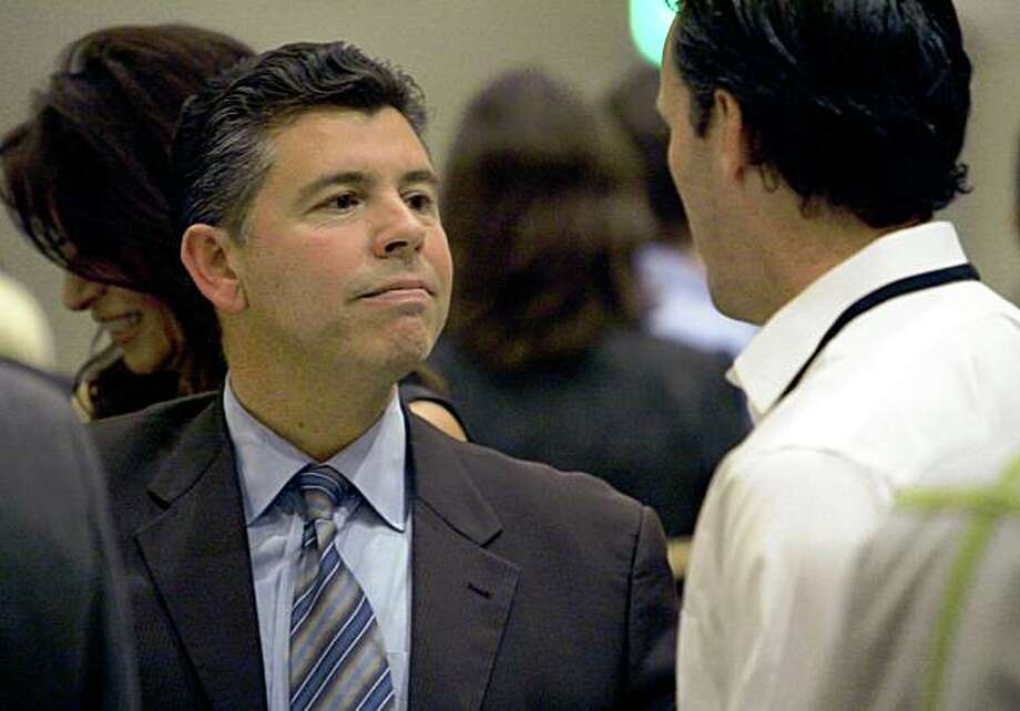 Sen. Abel Maldonado, R-Santa Maria, left, talks to a reporter at the California Republican Spring Convention in Sacramento, Calif., on Saturday, Feb. 21, 2009. Maldonado cast the swing vote that enabled the state budget to be passed this week.(AP Photo/Steve Yeater) Photo: Steve Yeater, AP