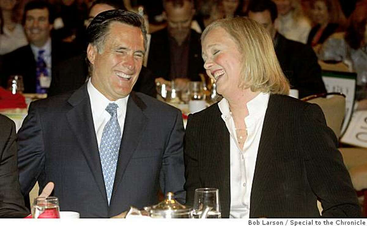 Mitt Romney, (L), and Meg Whitman share a laugh during a luncheon of the California Republican Party Spring Convention in Sacramento Calif., Saturday, February 21, 2009.(Special to the Chronicle/Bob Larson)