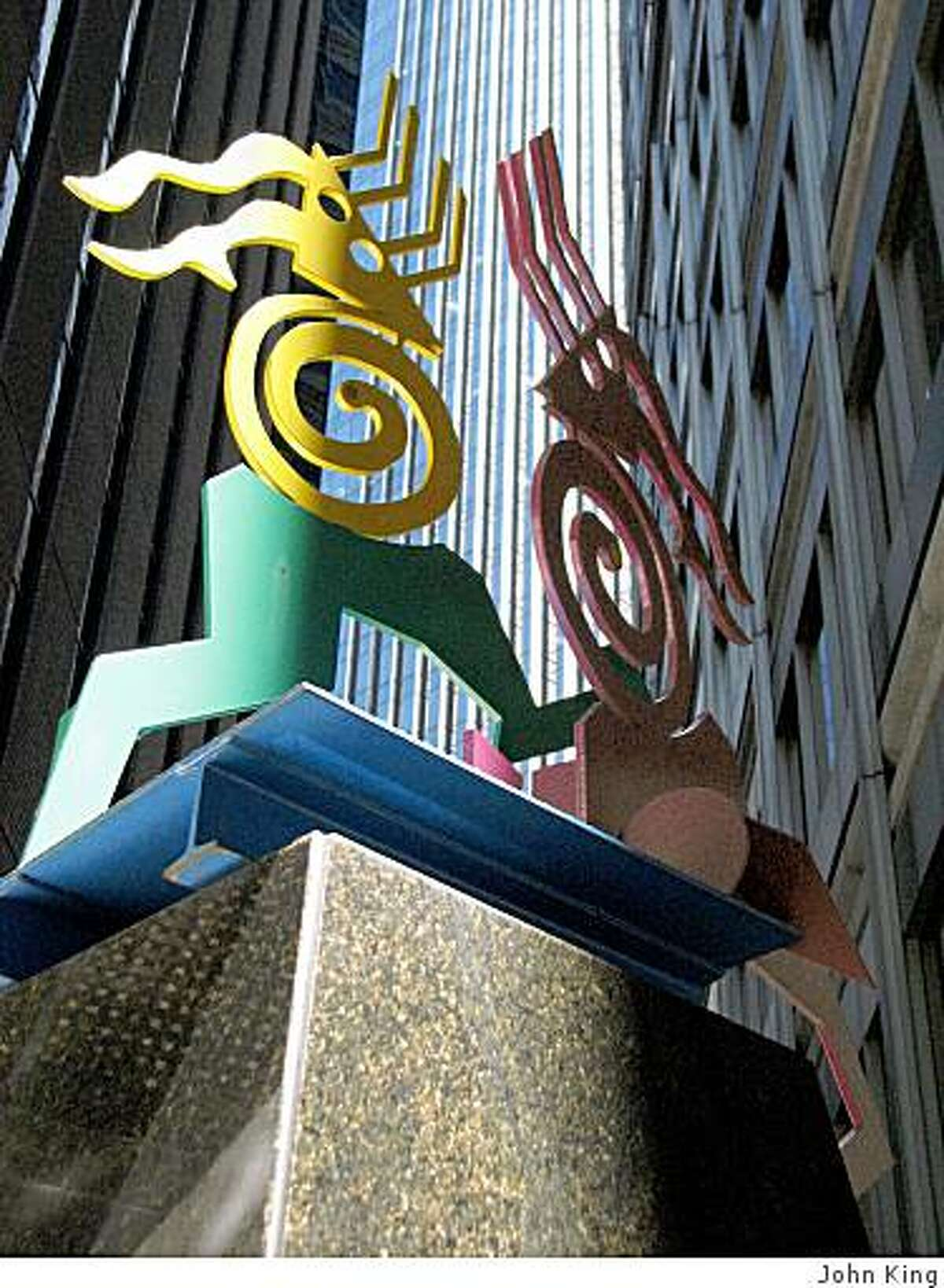 This small plaza behind the 100 Pine office tower is one of the urbane nooks of San Francisco's financial district. This photo shows a sculpture in the space,