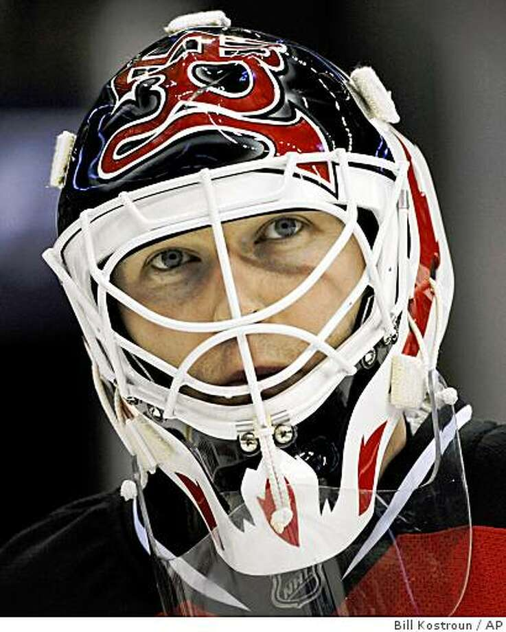 New Jersey Devils goaltender Martin Brodeur takes a breather during a time-out in the first period of a game against the Colorado Avalanche Thursday, Feb. 26, 2009 in Newark, N.J. Photo: Bill Kostroun, AP