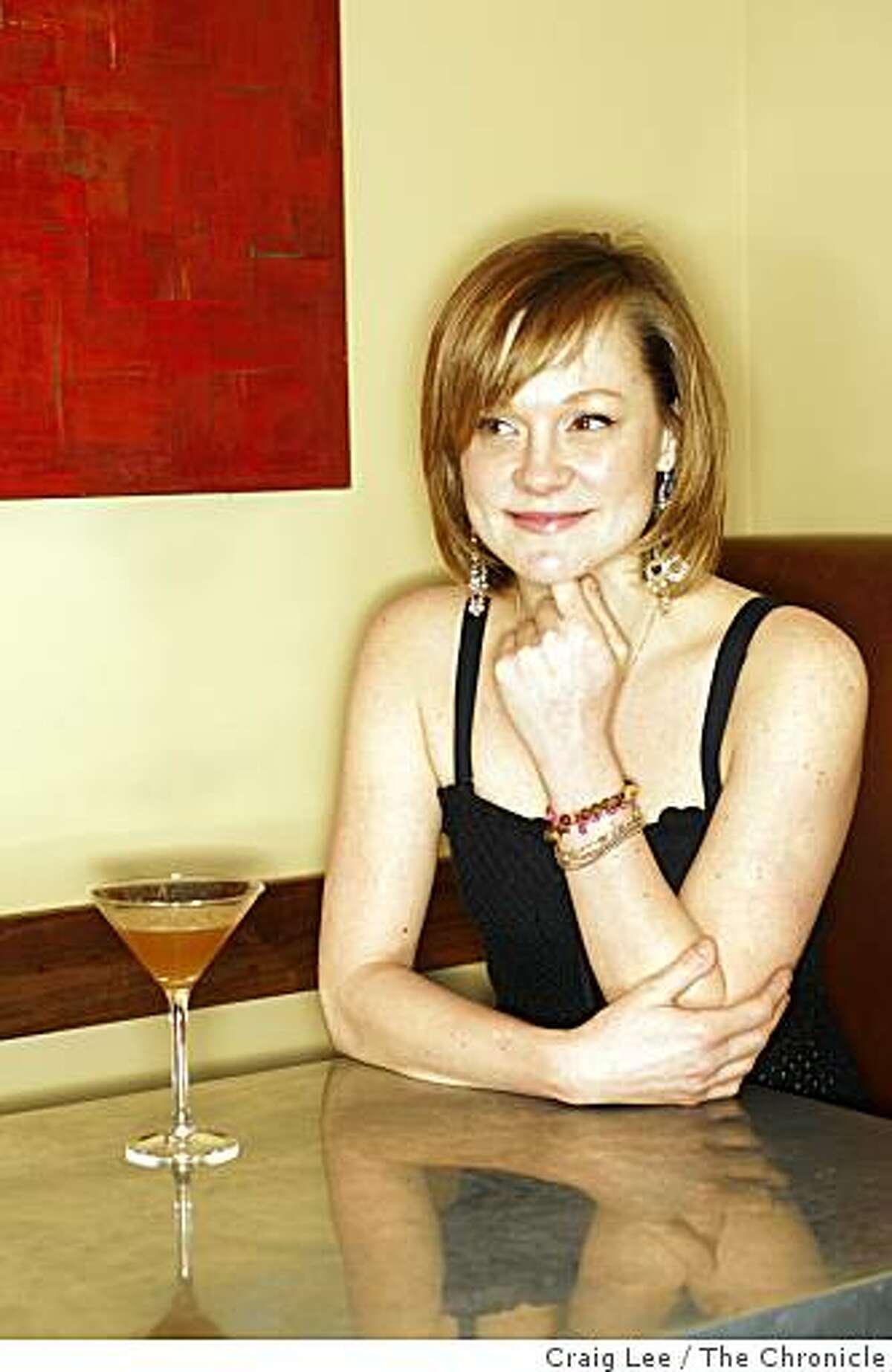 Brooke Arthur, bar manager at Range restaurant with her drink the Kokomo in San Francisco, Calif., on February 13, 2009.