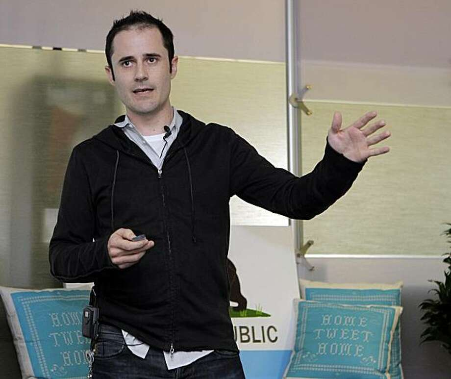 FILE - In this Sept. 14, 2010 file photo, then Twitter CEO Evan Williams makes a presentation about changes to the social network at Twitter headquarters in San Francisco. Williams on Monday, Oct. 4, 2010 became the second Twitter co-founder to step asideafter a two-year stint, making way for Dick Costolo, a colleague considered to be better suited for steering the next phase of the company's rapid growth. Photo: Marcio Jose Sanchez, AP