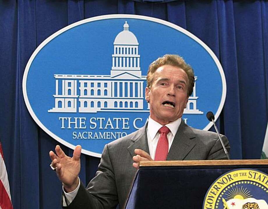 Gov. Arnold Schwarzenegger discusses the state budget that was passed earlier in the morning, during a news conference at the Capitol in Sacramento, Calif., Friday, Oct. 8, 2010.  Lawmakers worked overnight to approve an agreement worked out a week ago between Schwarznegger and legislative leaders that closes a $19 billion deficit. Photo: Rich Pedroncelli, AP