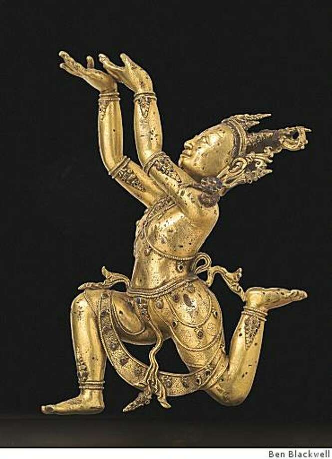 """""""Nagaraja,"""" by an unknown Tibetan artist from the 15th century; gilt bronze; on long-term loan from a private collection. Photo: Ben Blackwell"""