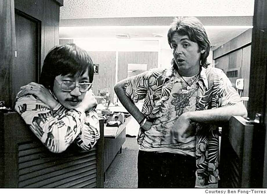 Ben Fong-Torres (left) and Paul McCartney in 1976. Photo: Courtesy Ben Fong-Torres