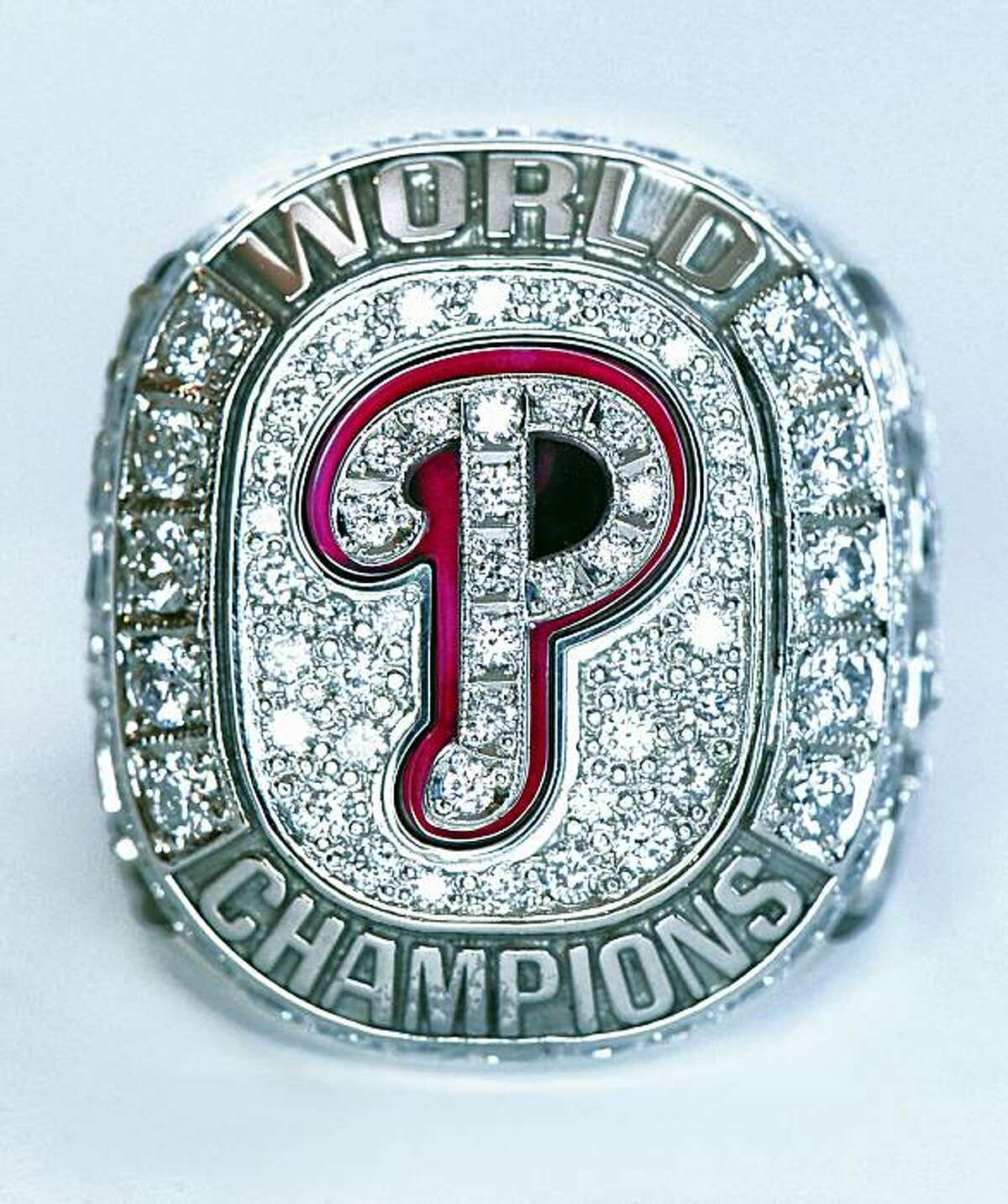 In this photo released by the Philadelphia Phillies on Wednesday, Aprl 8, 2009, the Phillies World Series Champions ring is shown. The team presented the rings to the players in a pregame ceremony on Wednesday, before a baseball game against the Atlanta Braves in Philadelphia. (AP Photo/Philadelphia Phillies) ** NO SALES **