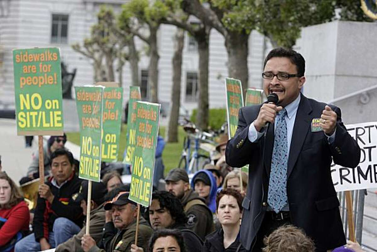 Supervisor David Campos speaks during a rally to protest the proposed ordinance that would make it a crime to sit or lie on public sidewalks in San Francisco at City Hall in San Francisco, Calif. on Monday May 10, 2010.
