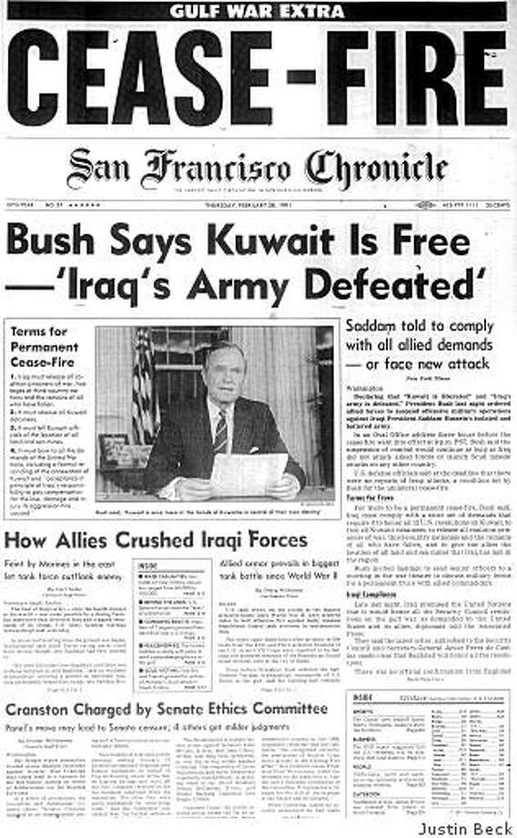 Feb. 28, 1991 ? The Gulf War is over after President Bush declares that U.S. forces have liberated Kuwait from the Iraqi army. Operation Desert Storm, which had begun with massive air strikes on Jan. 17, ends with just 100 hours of ground combat and U.S. troops stopping short of occupying Baghdad. Despite the victory, Bush loses his bid for re-election the following year to Bill Clinton. Photo: Justin Beck