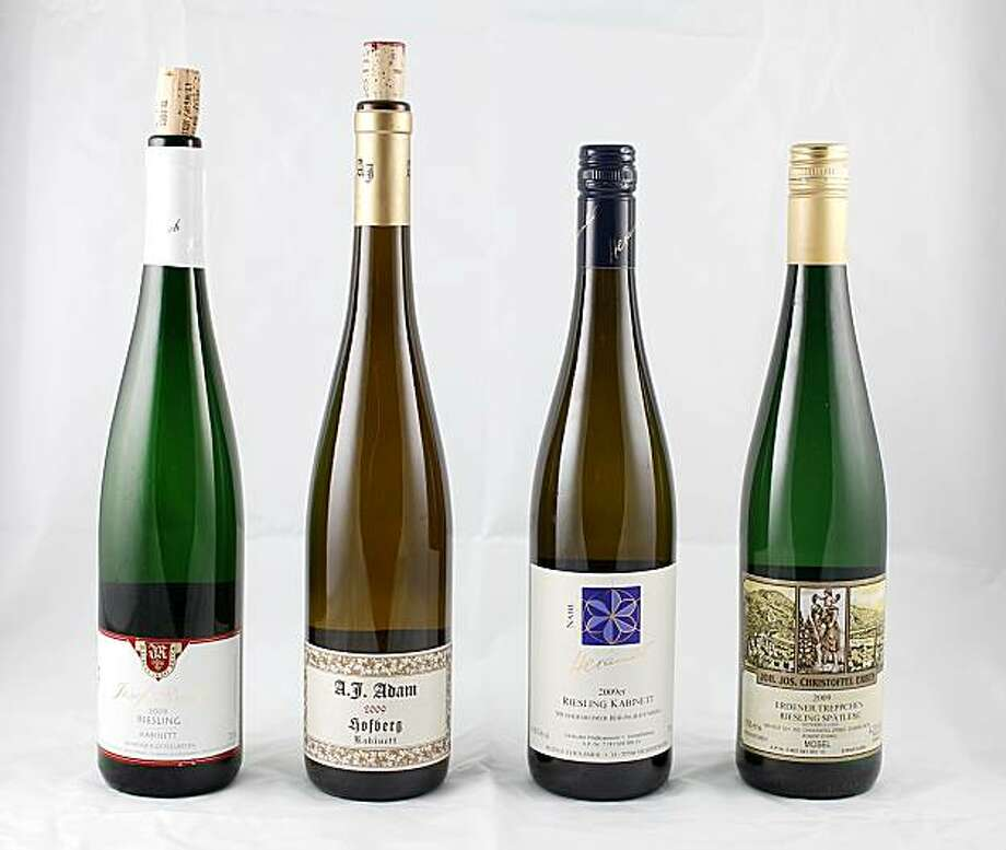 From left: Josef Rosch Leiwner Klostergarten Mosel Riesling Kabinett, A.J. Adam Dhroner Hofberg Mosel Riesling Kabinett, Hexamer Meddesheimer Rheingrafenberg Nahe Riesling Kabinett and J.J. Christoffel Erben Erdener Treppchen Mosel Riesling Spatlese, Wednesday, Oct. 6, 2010 in San Francisco, Calif. Photo: Jana Asenbrennerova, Special To The Chronicle