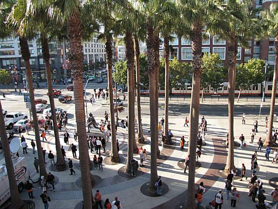 Willie Mays Plaza isn't just a cool spot to catch giants fever, it's a well-designed urban space. Photo: John King