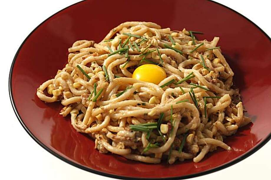 Udon carbonara is seen in San Francisco, Calif., on Wednesday, September 22, 2010. Food styled by Sophie Brickman. Photo: Craig Lee, Special To The Chronicle