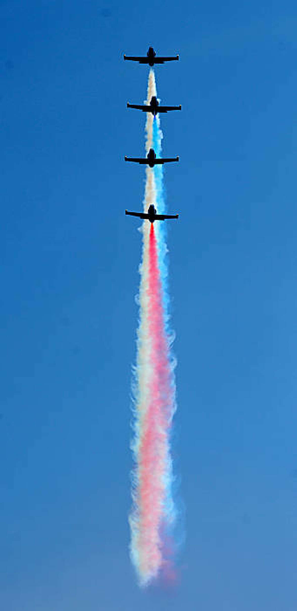 Members of the Patriot Jet Team perform during Fleet Week celebrations on Saturday, Oct. 9, 2010, in San Francisco.