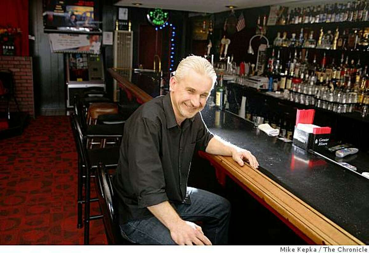 Ray Rex, owner The Hearth on Geary Street, sits at his bar on Thursday Feb. 19, 2009 in San Francisco, Calif.