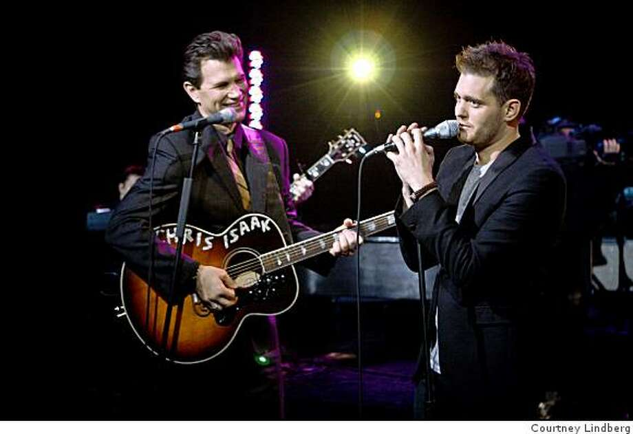 "Chris Isaak and Michael Buble perform on ""The Chris Isaak Hour."" Photo: Courtney Lindberg"