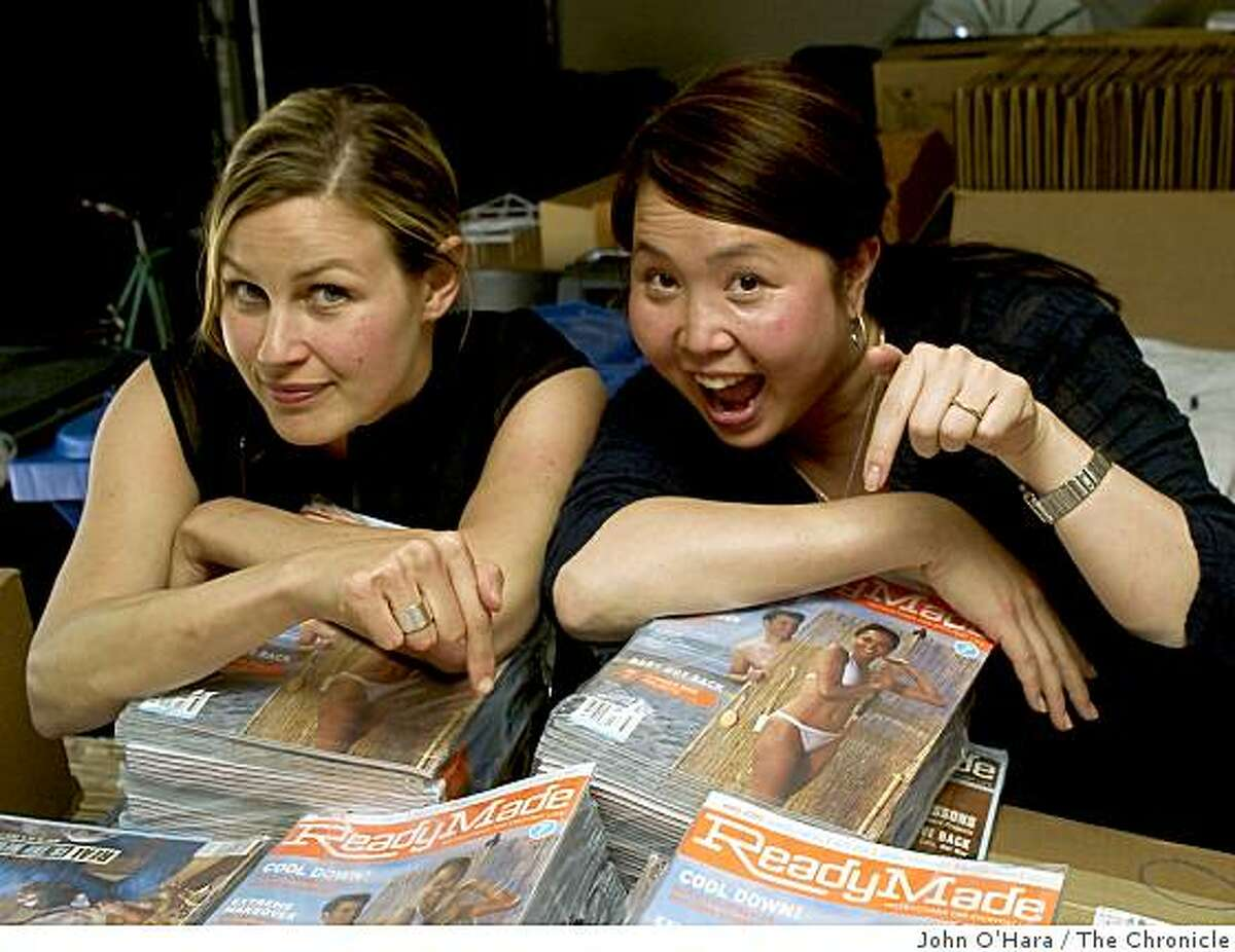"""Shoshana Berger (left) and Grace Hawthorne. A 3-year-old magazine called """"ReadyMade"""". They started in a garage in Berkeley and recently moved into an office space/loft."""