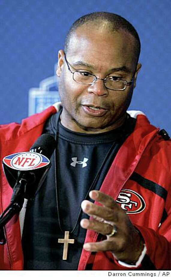 San Francisco 49ers head coach Mike Singletary responds to a question during a news conference at the NFL Scouting Combine in Indianapolis, Friday, Feb. 20, 2009. (AP Photo/Darron Cummings) Photo: Darron Cummings, AP
