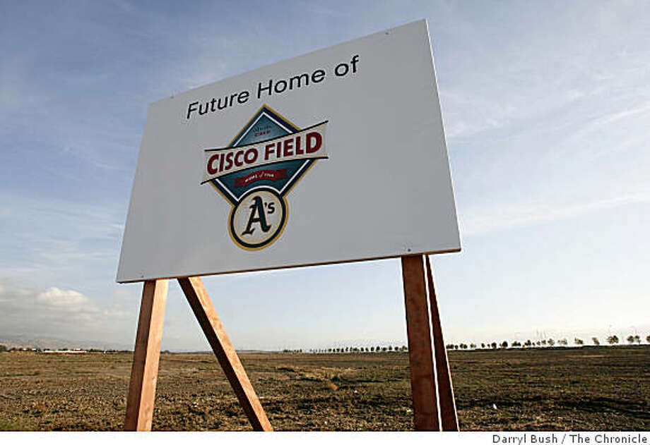"new sign saying ""Future Home of Cisco Field,"" stands in front of the site in Fremont at the end of Boscell Rd. near Hwy. 880, that is where the Oakland Athletics announced today they intend to build a new ballpark in (cq) in Fremont, CA, on Tuesday, November, 14, 2006 Photo: Darryl Bush, The Chronicle"