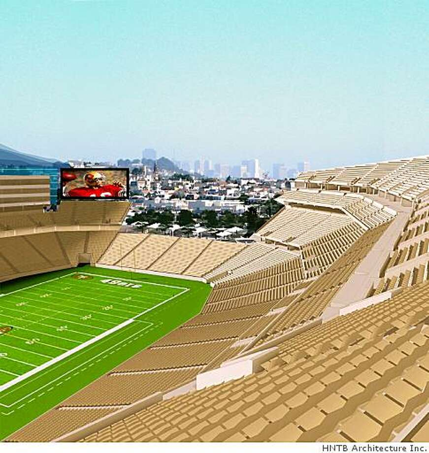 Ran on: 07-19-2006 This view from the upper level of seats inside the proposed stadium looks north, giving a view of Bayview up to the downtown skyline. Ran on: 11-10-2006 In 1997, the 49ers show a model of the new stadium planned as part of the Candlestick Point redevelopment with shopping and a entertainment center. Ran on: 11-10-2006 In 1997, the 49ers show a model of the new stadium planned as part of the Candlestick Point redevelopment with shopping and an entertainment center. Photo: HNTB Architecture Inc.