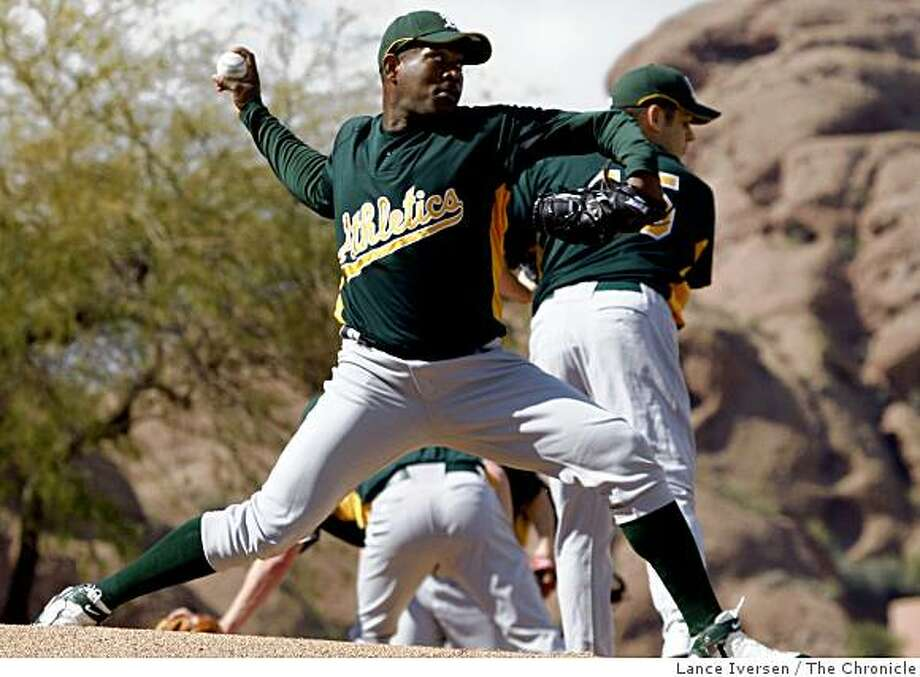 Oakland Athletics pitcher Santiago Casilla warms in the bullpen during Spring Training workouts at the Papago Baseball Complex Tuesday February 17, 2009 in Phoenix Arizona Photo: Lance Iversen, The Chronicle