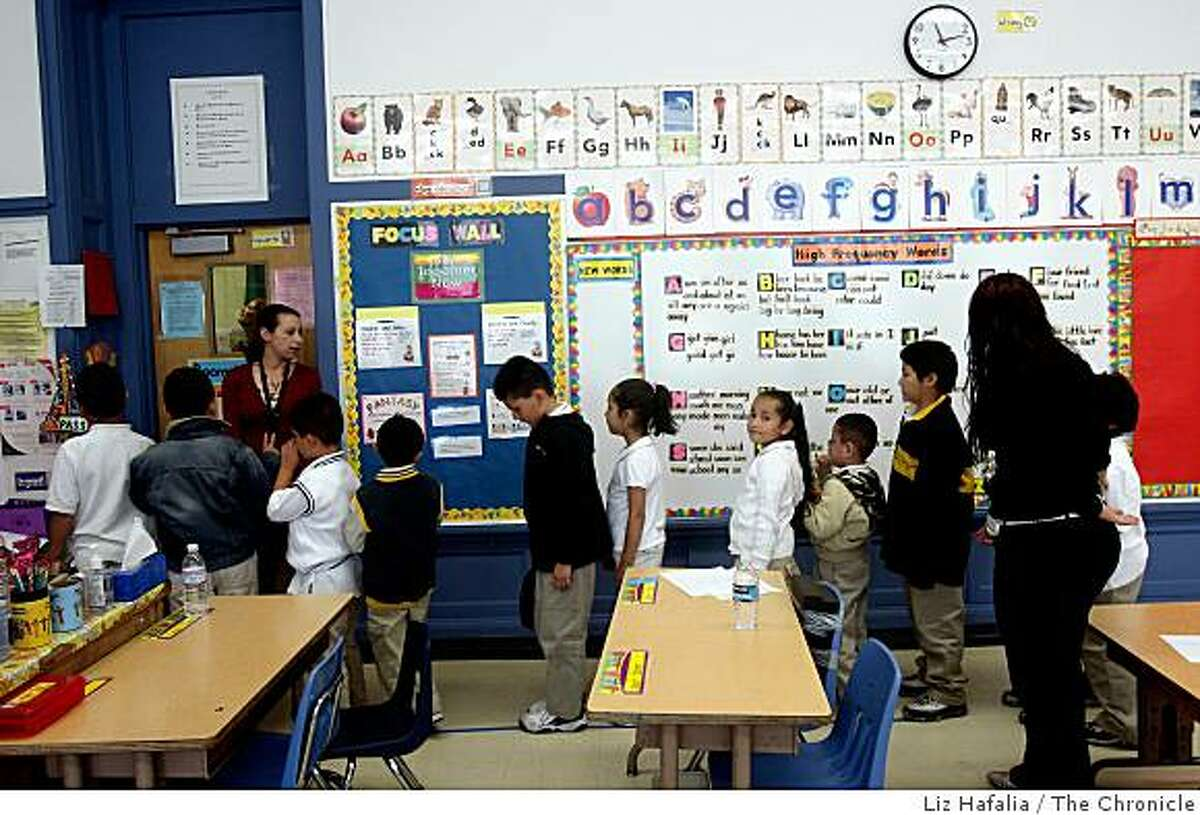 Ms. Ravi Kline (left) lines up her multi grade class for recess at Sanchez Elementary School, on Tuesday, September 9, 2008. Mayor Gavin Newsom releases news of the first survey of kindergartner readiness in San Francisco, Calif., showing success rates throughout a child's education should they be kindergartner prepared.