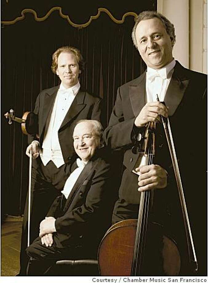 The Beaux Arts Trio: from left, violinist Daniel Hope, pianist Menaham Pressler, cellist Antonio Meneses Photo: Courtesy, Chamber Music San Francisco