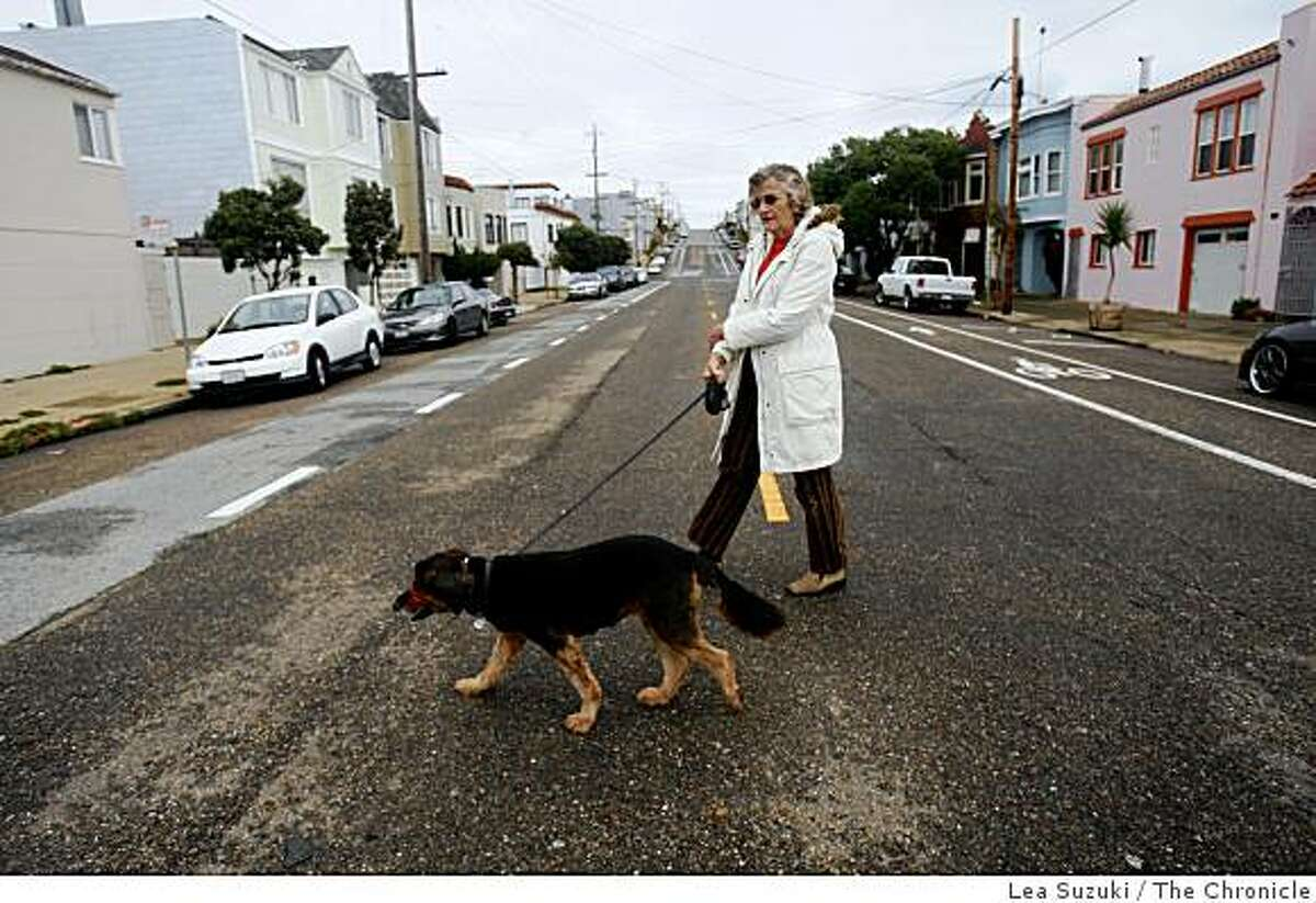 Vera Haile and Gabriele take advantage of a break in the rain and go for a walk in San Francisco, Calif. on Monday, February 23, 2009.