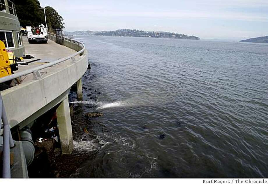 Waste water continued to flow out of a leak at the Sausalito-Marin City Sanitary District Fort Baker treatment plant on Feb. 18, 2009 in Sausalito, Calif. Photo: Kurt Rogers, The Chronicle