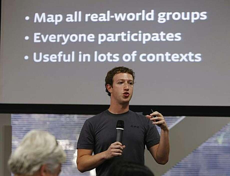 Facebook CEO Mark Zuckerberg talks during a product announcement at Facebook headquarters in Palo Alto, Calif., Wednesday, Oct. 5, 2010. Photo: Paul Sakuma, AP