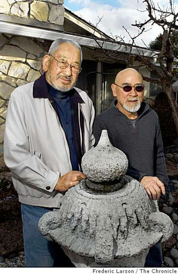 Jimmy Yamaichi (L) and Hiroshi Shimizu pose outside Jimmy home in San Jose, California on February 12, 2008. Both where residents of the Tulelake internment camp where Japanese Americans were jailed during World War II. Photo: Frederic Larson, The Chronicle