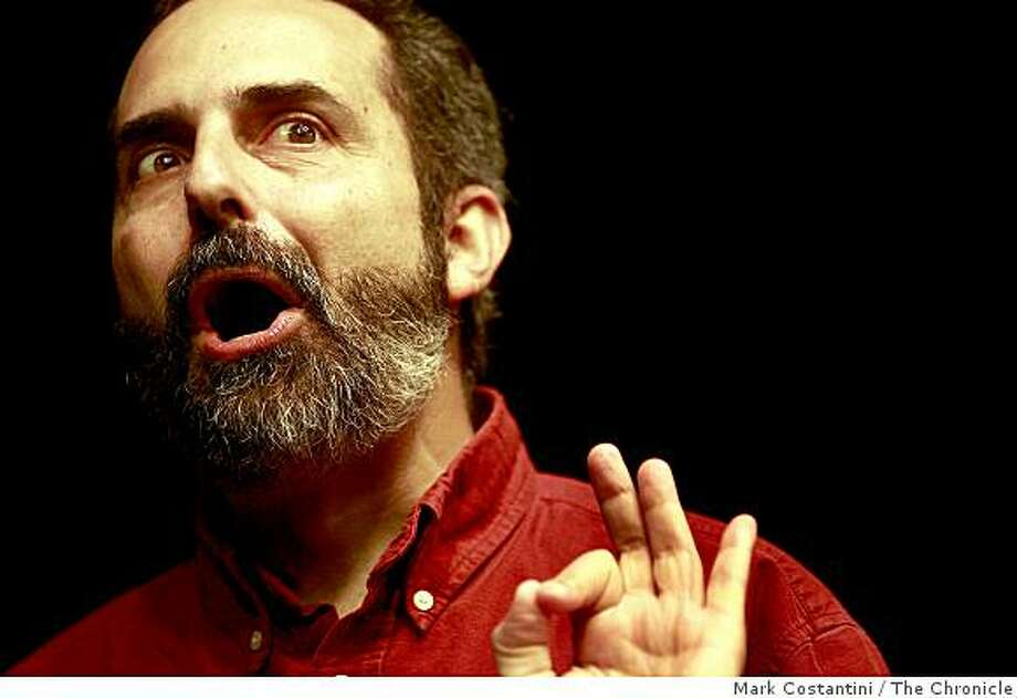 "Charlie Varon rehearses his new one-man show, called ""Rabbi Sam."" in San Francisco, Calif. on Thursday, February 5, 2009. Photo: Mark Costantini, The Chronicle"