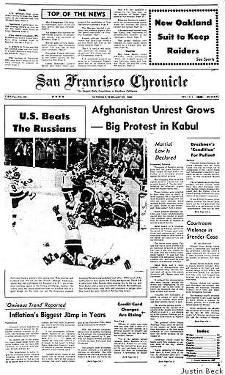 """Feb. 23, 1980 ? Americans celebrate the U.S. hockey team's 4-3 upset victory a day earlier over the Soviet Union in the XIII Winter Olympic Games. After the """"Miracle on Ice,"""" the U.S. goes on to win the Gold Medal by beating Finland 4-2. In other news, the Soviet occupation of Afghanistan continues as protests among Afghan civilians grow in Kabul. It isn't until nine years later that the Soviets finally leave. Photo: Justin Beck"""