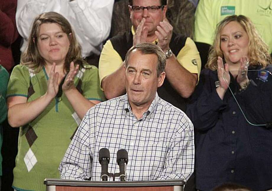 U.S. Rep. John Boehner (R-Ohio) speaks on the economy at a rally, Friday, Oct. 8, 2010, at United Group Services in West Chester, Ohio. Photo: Al Behrman, AP